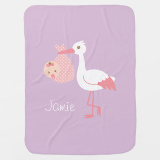 White Stork Delivers Cute Baby Girl Swaddle Blankets