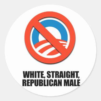 White straight Republican Male Classic Round Sticker