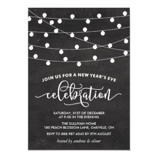 White String Lights on Chalkboard New Year's Eve 5x7 Paper Invitation Card