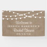 White String Lights On Rustic Burlap Bridal Shower Banner