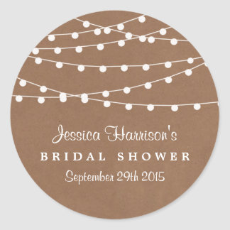 White String Lights On Rustic Kraft Bridal Shower Classic Round Sticker