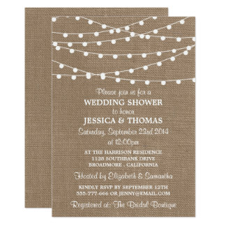 white string lights rustic burlap wedding shower card - Burlap Wedding Invitations