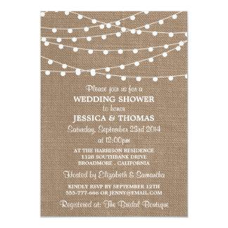White String Lights, Rustic Burlap Wedding Shower Card