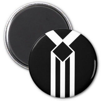 White Stripes and Chevrons on Black with Monogram 2 Inch Round Magnet