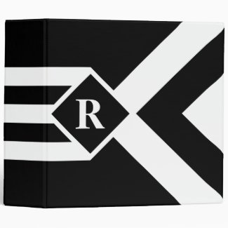 White Stripes and Chevrons on Black with Monogram Binder