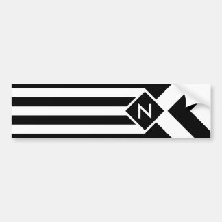 White Stripes and Chevrons on Black with Monogram Bumper Sticker