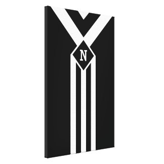 White Stripes and Chevrons on Black with Monogram Canvas Print