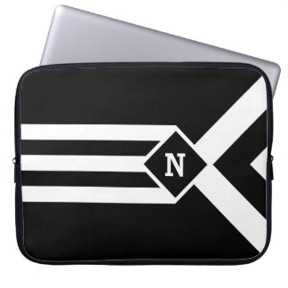 White Stripes and Chevrons on Black with Monogram Computer Sleeve