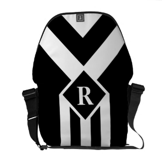 White Stripes and Chevrons on Black with Monogram
