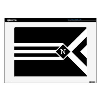 """White Stripes and Chevrons on Black with Monogram Decals For 15"""" Laptops"""