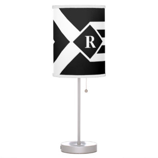 White Stripes and Chevrons on Black with Monogram Desk Lamp