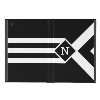 White Stripes and Chevrons on Black with Monogram iPad Mini Covers