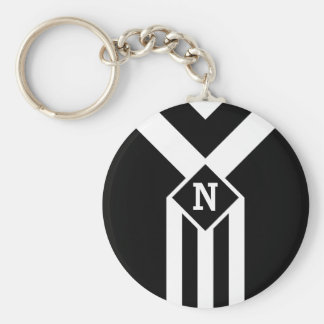 White Stripes and Chevrons on Black with Monogram Keychain