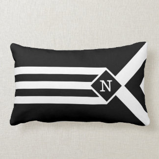White Stripes and Chevrons on Black with Monogram Lumbar Pillow