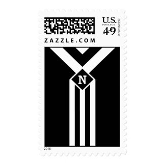 White Stripes and Chevrons on Black with Monogram Postage