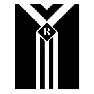 White Stripes and Chevrons on Black with Monogram Postcard