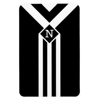 White Stripes and Chevrons on Black with Monogram Rectangular Photo Magnet