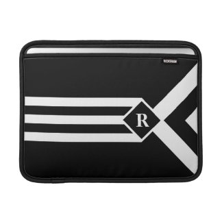 White Stripes and Chevrons on Black with Monogram Sleeve For MacBook Air