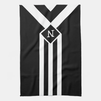 White Stripes and Chevrons on Black with Monogram Towels