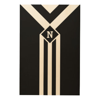 White Stripes and Chevrons on Black with Monogram Wood Wall Art