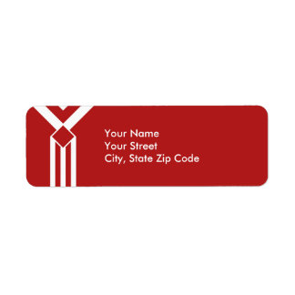 White Stripes and Chevrons on Red address label
