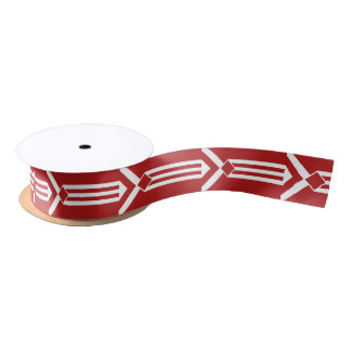 White Stripes and Chevrons on Red Satin Ribbon