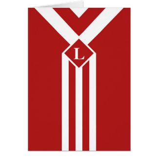 White Stripes and Chevrons on Red with Monogram Card