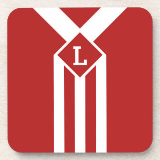 White Stripes and Chevrons on Red with Monogram Coaster