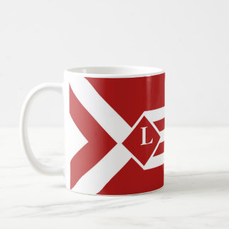 White Stripes and Chevrons on Red with Monogram Coffee Mug