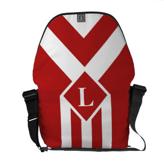 White Stripes and Chevrons on Red with Monogram Courier Bag