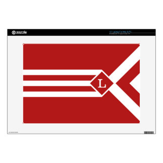 """White Stripes and Chevrons on Red with Monogram Decals For 15"""" Laptops"""