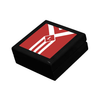 White Stripes and Chevrons on Red with Monogram Gift Box
