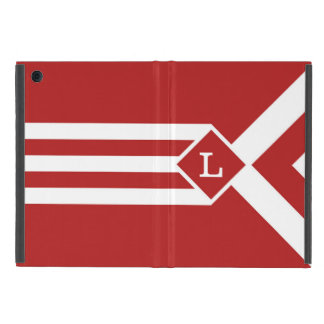 White Stripes and Chevrons on Red with Monogram iPad Mini Covers