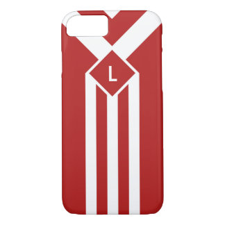 White Stripes and Chevrons on Red with Monogram iPhone 7 Case