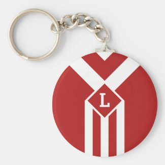 White Stripes and Chevrons on Red with Monogram Keychain