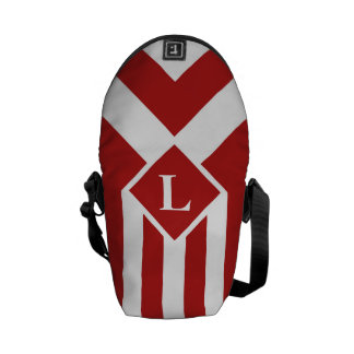 White Stripes and Chevrons on Red with Monogram Messenger Bag