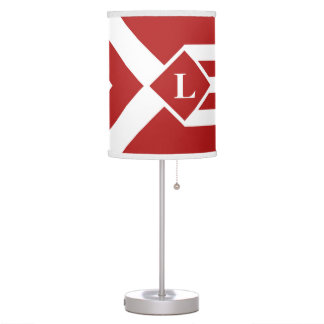 White Stripes and Chevrons on Red with Monogram Table Lamp