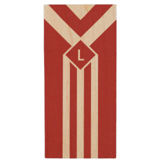 White Stripes and Chevrons on Red with Monogram Wood USB Flash Drive