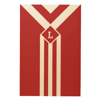 White Stripes and Chevrons on Red with Monogram Wood Wall Decor