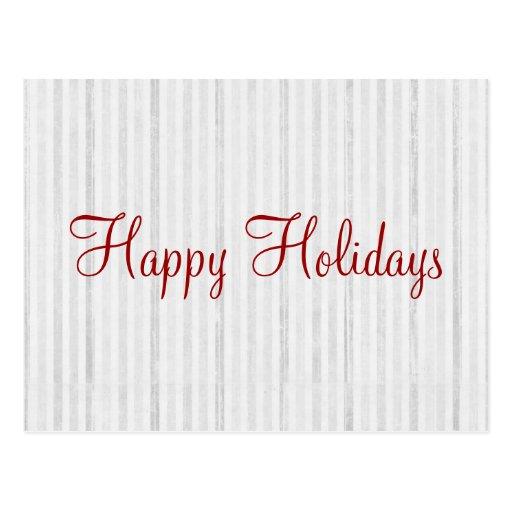 White Stripes Happy Holidays Post Card
