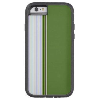 White Stripes on Green Tough Xtreme iPhone 6 Case