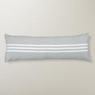 White Stripes on Light Grey Body Pillow