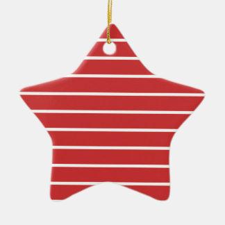 White Stripes ON Red Ceramic Ornament