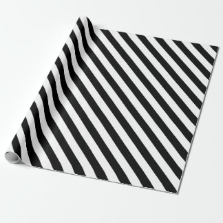 White Stripes with Black Background | DIY Color Wrapping Paper