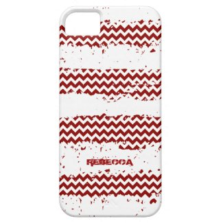 White Stripes With Dark Red Zigzag Chevron iPhone 5 Cases