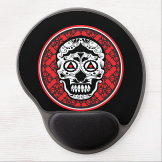 White style sugar skull on red black damask gel mouse pad