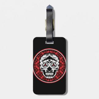 White style sugar skull on red black damask luggage tag