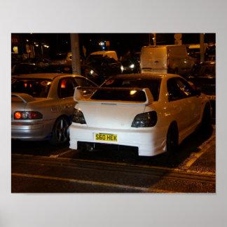 White Subaru Impreza at a club meeting Poster