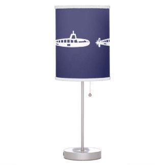 White Submarine on blue background Table Lamp