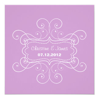 White subtle frame on lilac wedding invitation